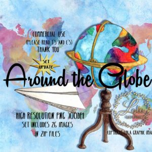 hand painted travelling clipart