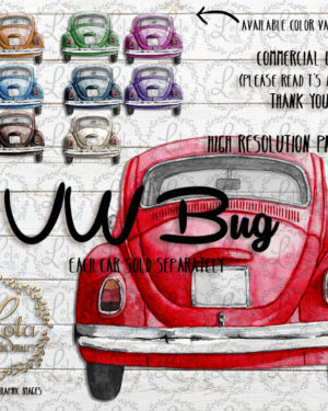 Watercolor VW Bug Clipart | Hand Painted Vehicle | PNG