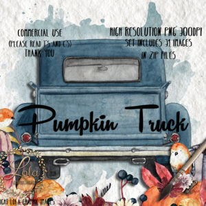 Pumpkin in truck with robin clipart