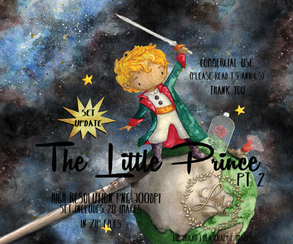 Little prince and rose on planet