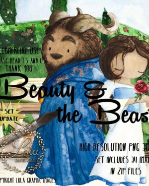 hand painted beauty and the beast clipart png