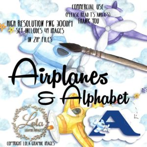 watercolour airplane png graphics, Airplanes & Alphabet Clipart