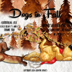 watercolor fall cautumn fun dogs play wind leaves trees clipart