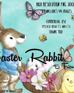 watercolor rabbit in coat cute chick scarecrow basket flower butterfly clipart