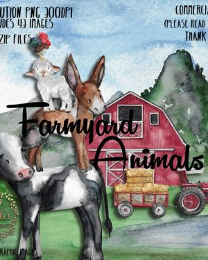 watercolor farm animals barn tractor hay cow donkey sheep rooster chicken clipart