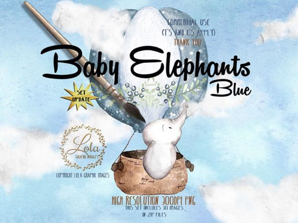 watercolor baby elephant in a balloon clipart