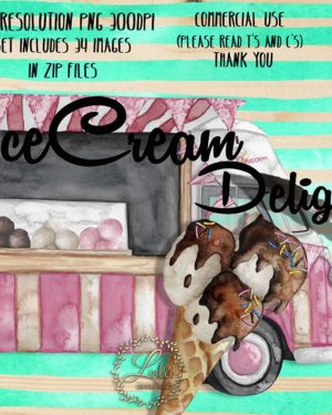 hand painted ice cream clipart