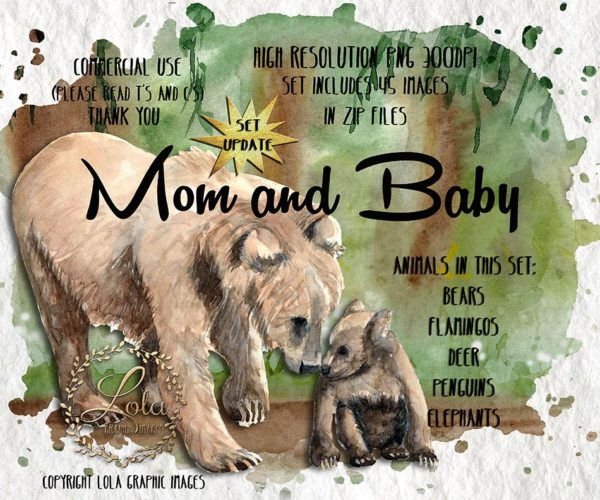 watercolor mom and baby bear graphics