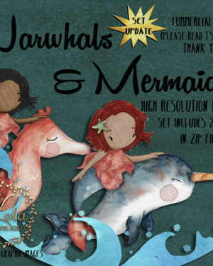 illustrated mermaids and narwhals