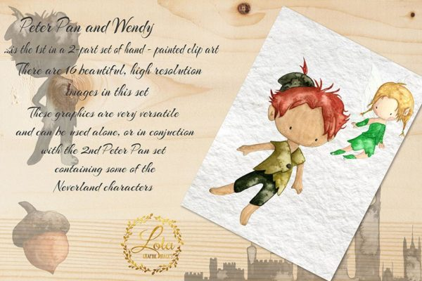 hand painted peter pan and tinkerbel