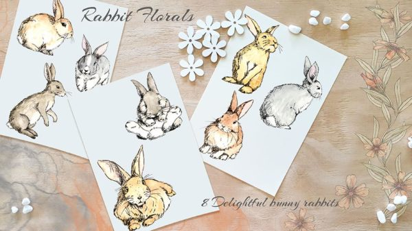 hand painted bunnies and rabbits