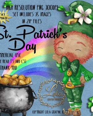 watercolor St Patrick Day pot o gold clipart clover