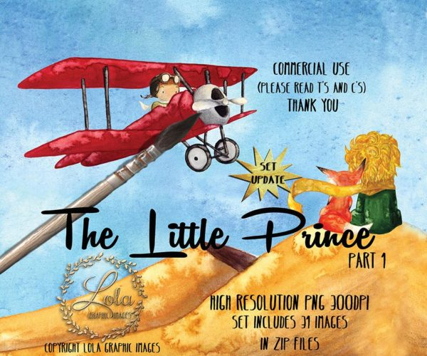 the little prince and fox with red airplane