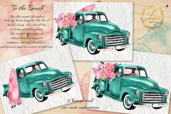 hand painted trucks with surfboards