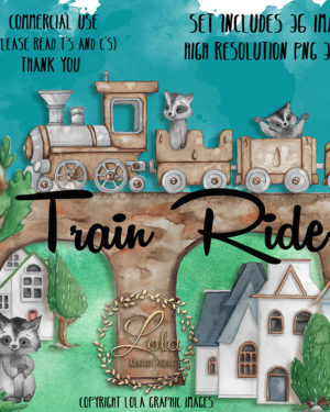Watercolor Train Clipart   PNG Images