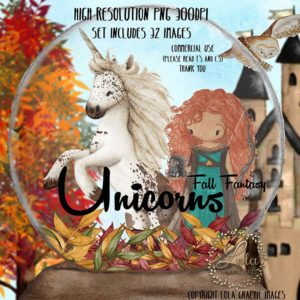 fall princess and unicorn in forest, Unicorn Clipart