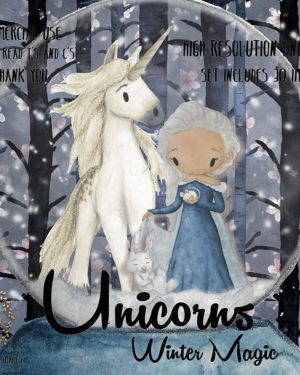 Watercolor Winter Unicorn Clipart   Snow Queen Graphics   Snow Overlay   PNG Images