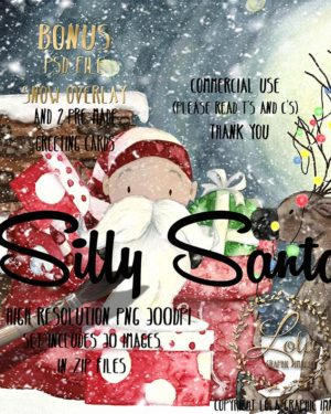 lola graphics silly santa and reindeer clipart