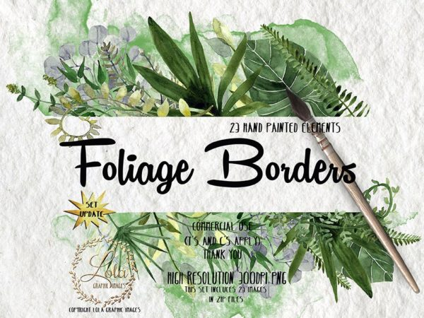 hand painted watercolor foliage clipart