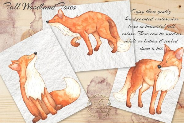 watercolor woodland foxes design clipart
