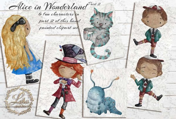 alice in wonderland hand painted clipart