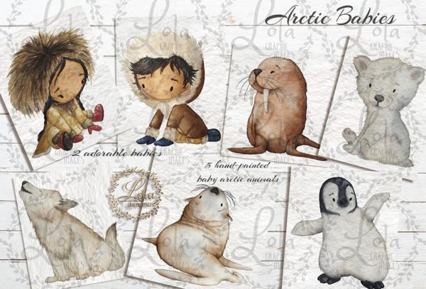 cute hand painted arctic animals