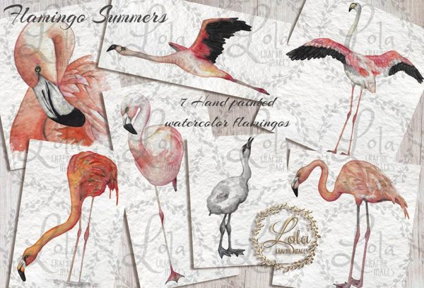 hand painted watercolor flamingo png