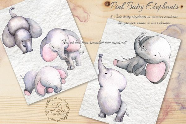 hand painted pink baby elephants