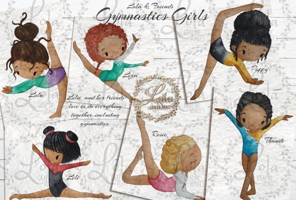 hand painted gymnastic girl clipart