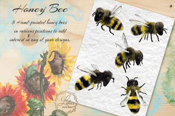 hand painted bee clipart