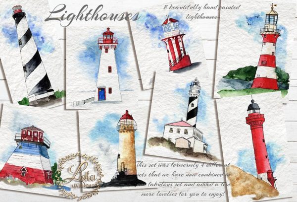 hand painted lighthouses png
