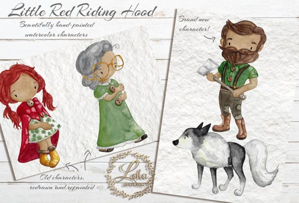 hand painted little red riding hood