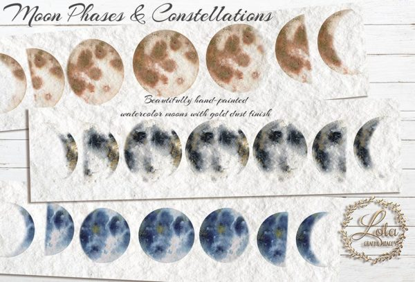 hand painted moon phases
