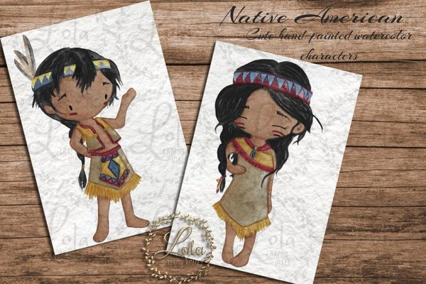 native american boy and girl png