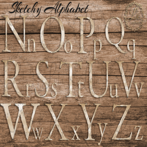 hand sketched alphabet clipart