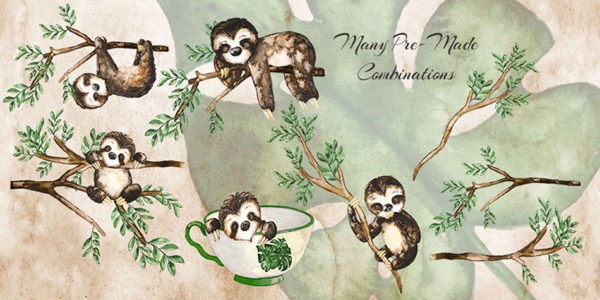 cute hand painted sloths