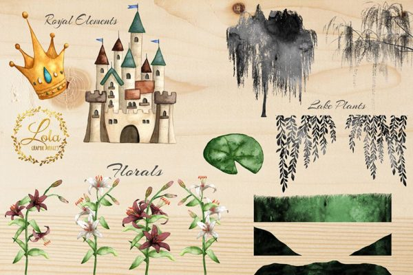 castle by the lake clipart