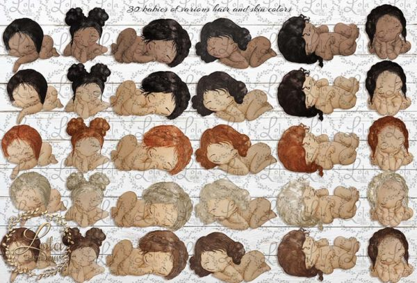 babies of color clipart