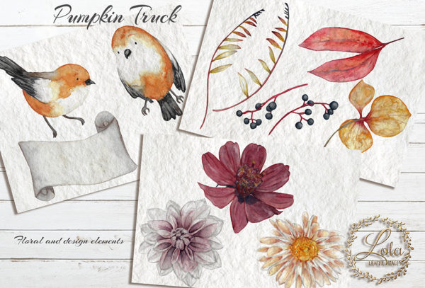 watercolor flower and robin clipart
