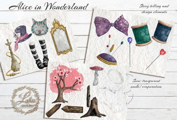 watercolour mad hatter clipart
