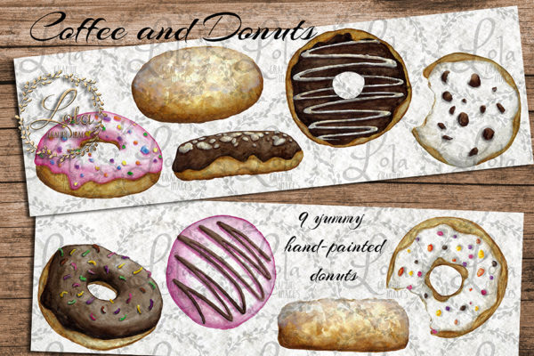 watercolour donuts clipart