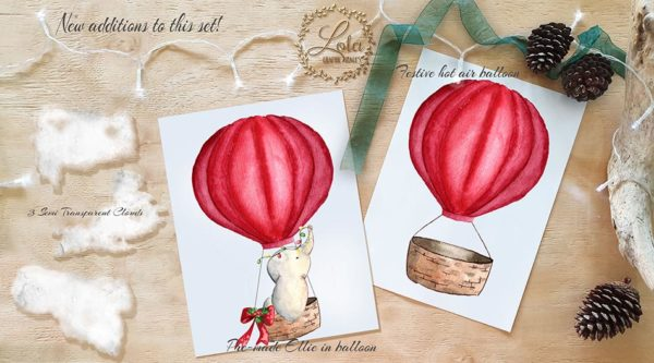 watercolor elephant in balloon clipart