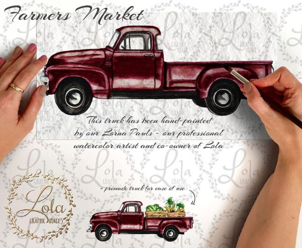 watercolor red truck