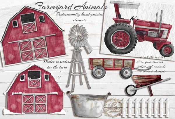 red watercolor barn tractor