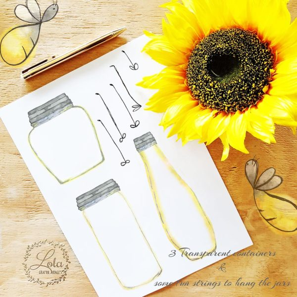hand painted jar clipart