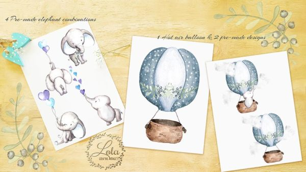 hand painted baby elephant clipart