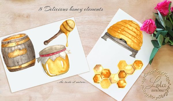 hand painted honey clipart