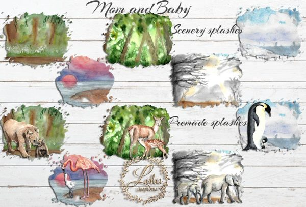 hand painted scenery for clipart