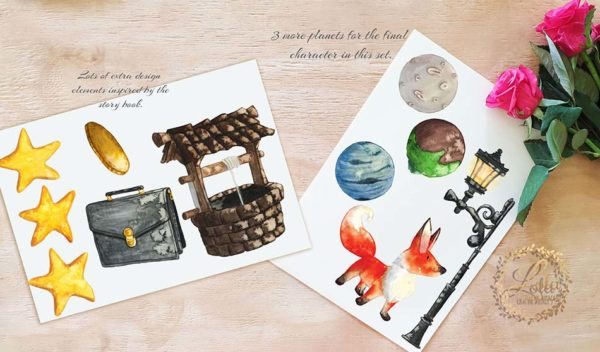 little prince fox and planets