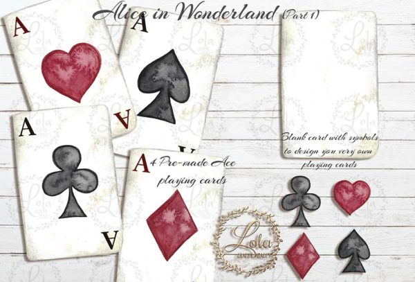 hand painted playing card clipart